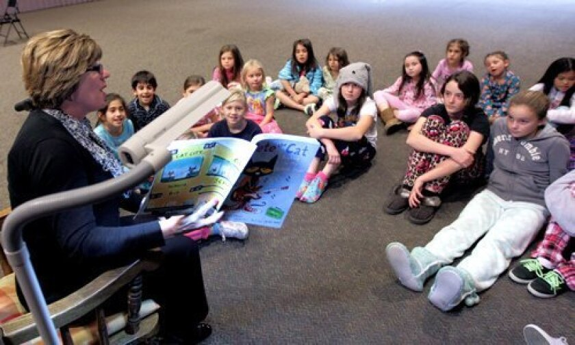 """Principal Julie Norby reads """"Pete the Cat – Rockin' in my School Shoes"""""""