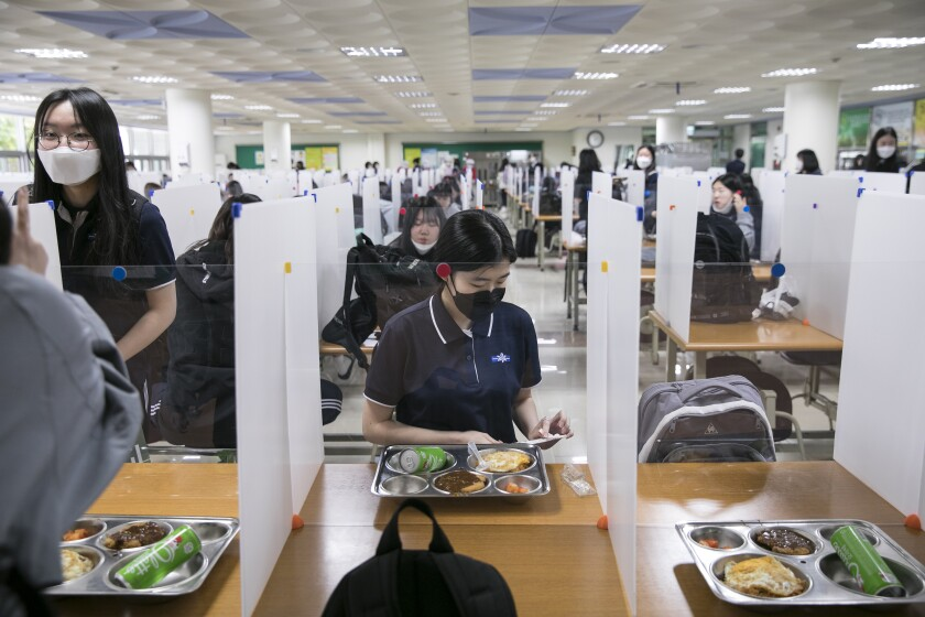 Students have lunch in Daegu City, South Korea, on May 20, 2020.