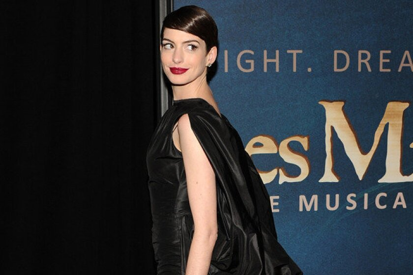 """Anne Hathaway attends the premiere for """"Les Miserables"""" in New York."""
