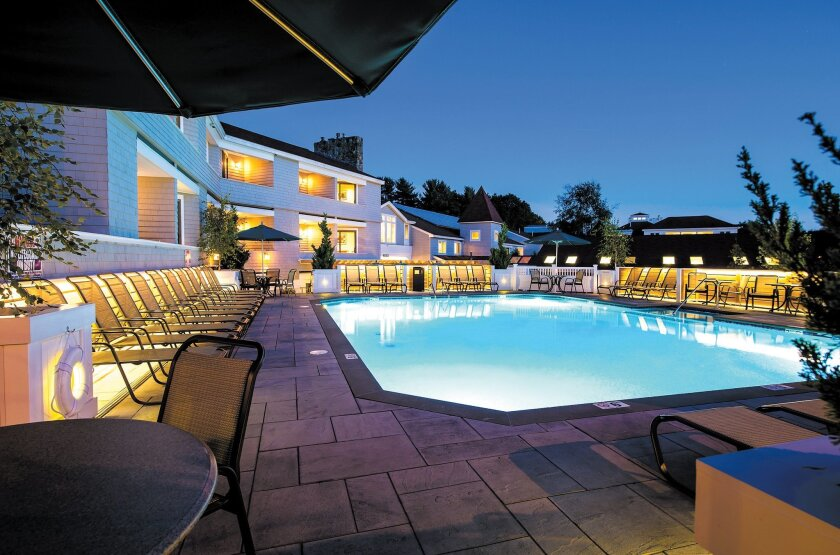 A poolside view of the Meadowmere Resort in Ogunquit, Maine.