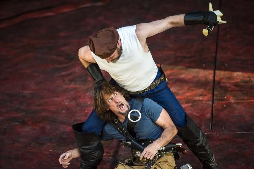 J. Todd Adams and Todd Denning rehearse Utah Shakespeare Festival's 'Henry V' in the new Engelstad Shakespeare Theatre in Cedar City, Utah, on June 16, 2016.