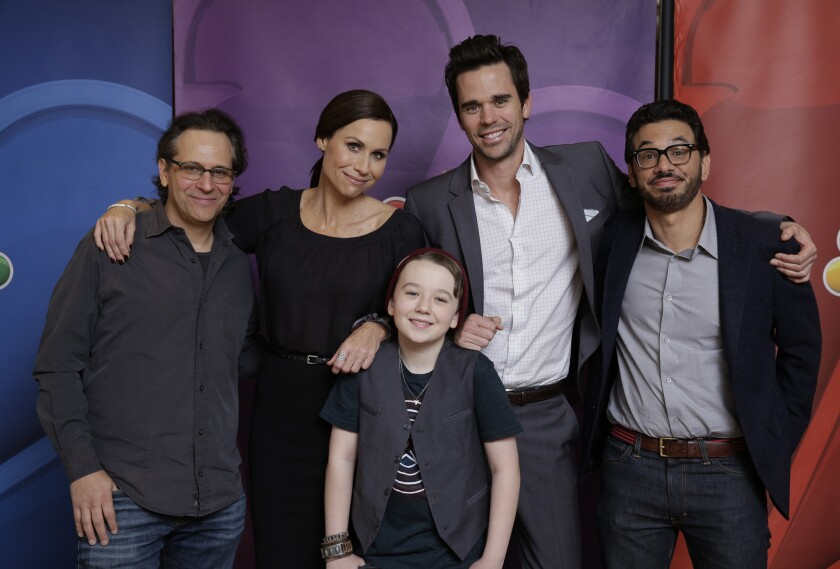 "Executive producer Jason Katims, left,along with ""About a Boy"" cast Minnie Driver, Benjamin Stockham, David Walton, and Al Madrigal."