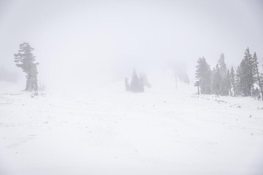 Snow scene at Mammoth Mountain on Monday.