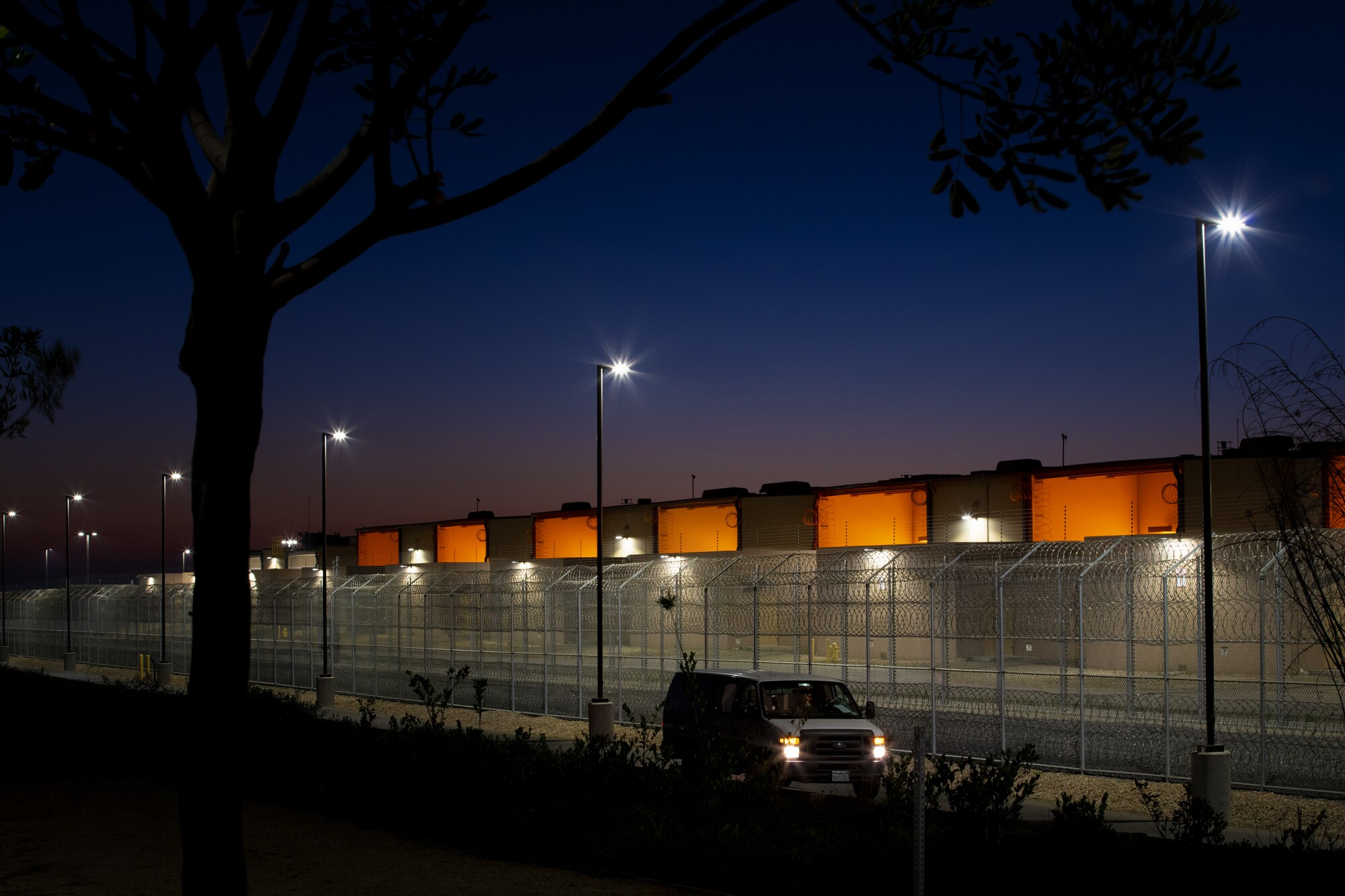 Otay Mesa Detention Center's fencing and the side of the building