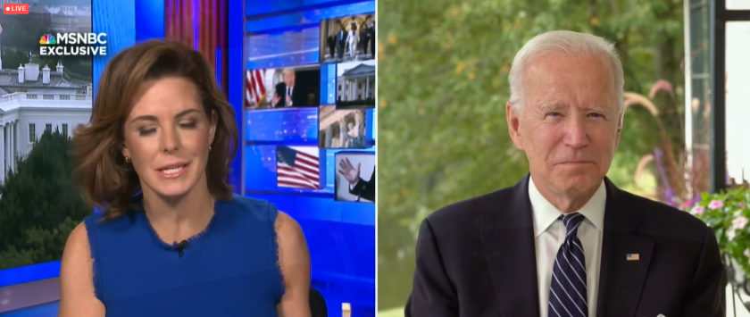Democrat presidential candidate Joe Biden being interviewed at L'Attitude in San Diego by Stephanie Ruhle.