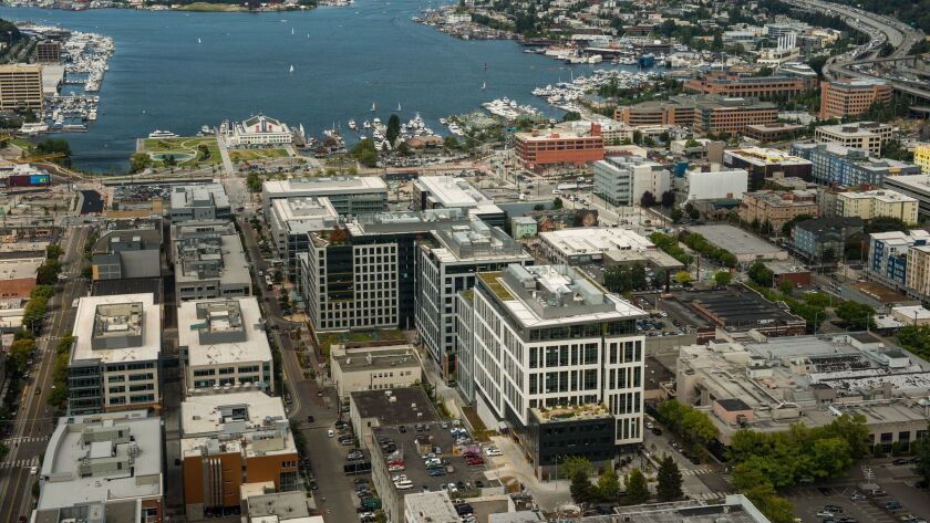 The Amazon campus, center, sprawls toward the south end of Lake Union in Seattle. The company wants to build a second headquarters, and Irvine is bidding to be the new location.