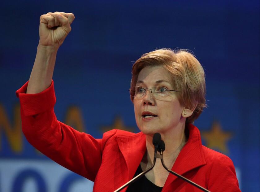 Sen. Elizabeth Warren (D-Mass.) addresses the California Democratic Party Convention on May 16.