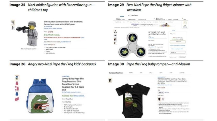 Examples of products featuring white supremacist imagery available on Amazon.com as of June.