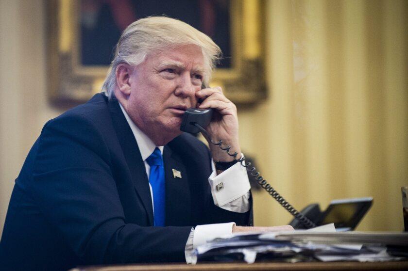 President Trump on phone call.