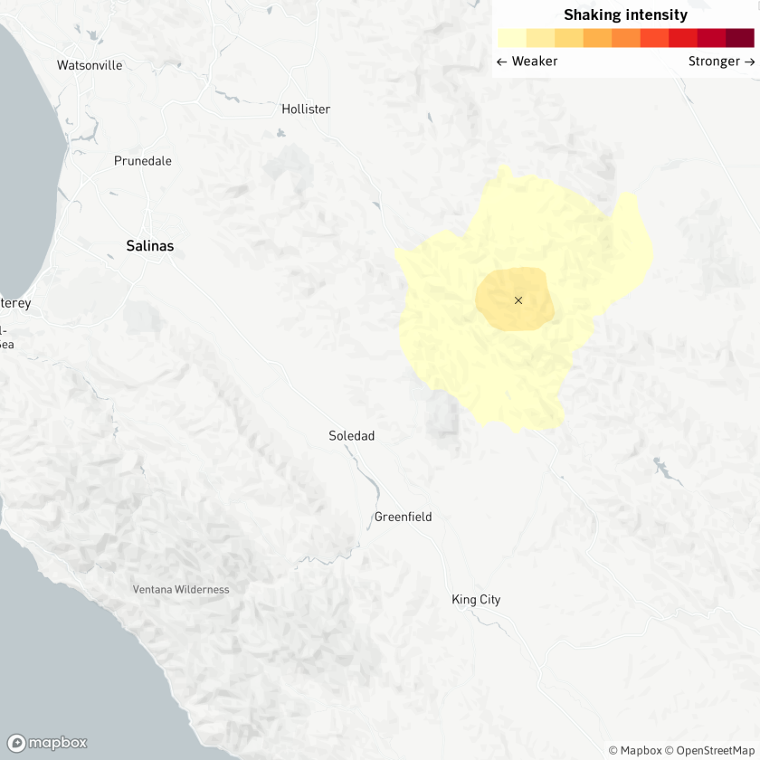 An earthquake was reported Tuesday at 12:22 p.m. 17 miles from Soledad, Calif., according to the U.S. Geological Survey.
