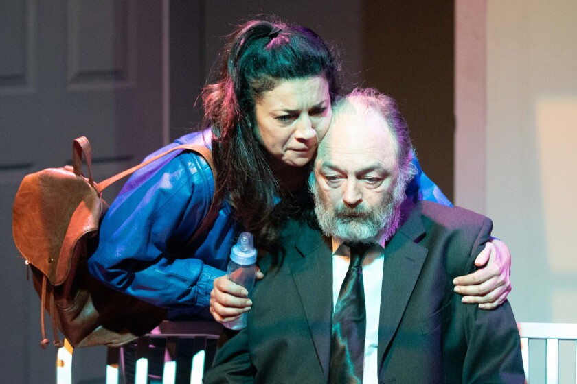 "The looming climate crisis brings a moment of reconciliation between a politician (Anna Khaja) and her estranged father (Ron Bottitta) in Rogue Machine's ""Earthquakes in London."""
