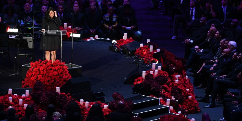 Vanessa Bryant speaks at the Kobe and Gianna Bryant public memorial Monday at Staples Center.