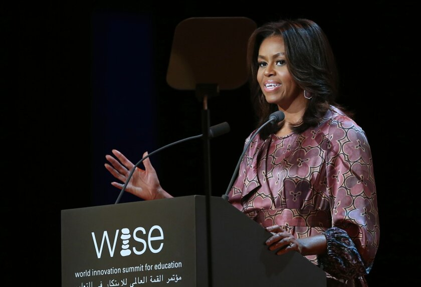 First Lady Michelle Obama speaks at the 2015 World Innovation Summit for Education (WISE) held at the convention center in Doha, Qatar, Wednesday, Nov. 4, 2015. (AP Photo/Osama Faisal)
