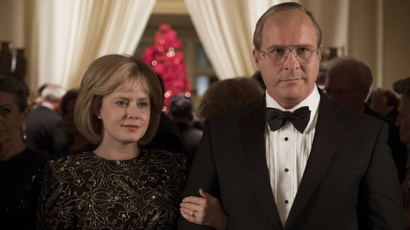 "Amy Adams (left) as Lynne Cheney and Christian Bale (right) as Dick Cheney in Adam McKay?s ""VICE,"" a"