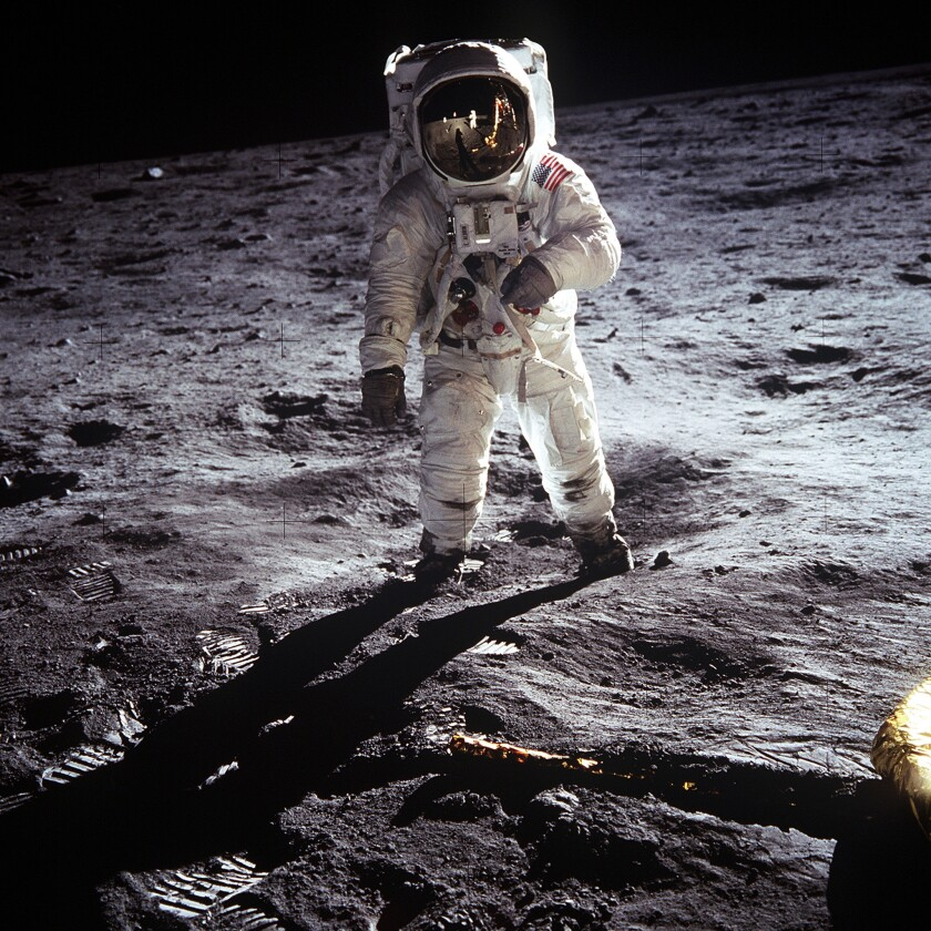 Astronaut Buzz Aldrin walks on the moon on July 20, 1969.