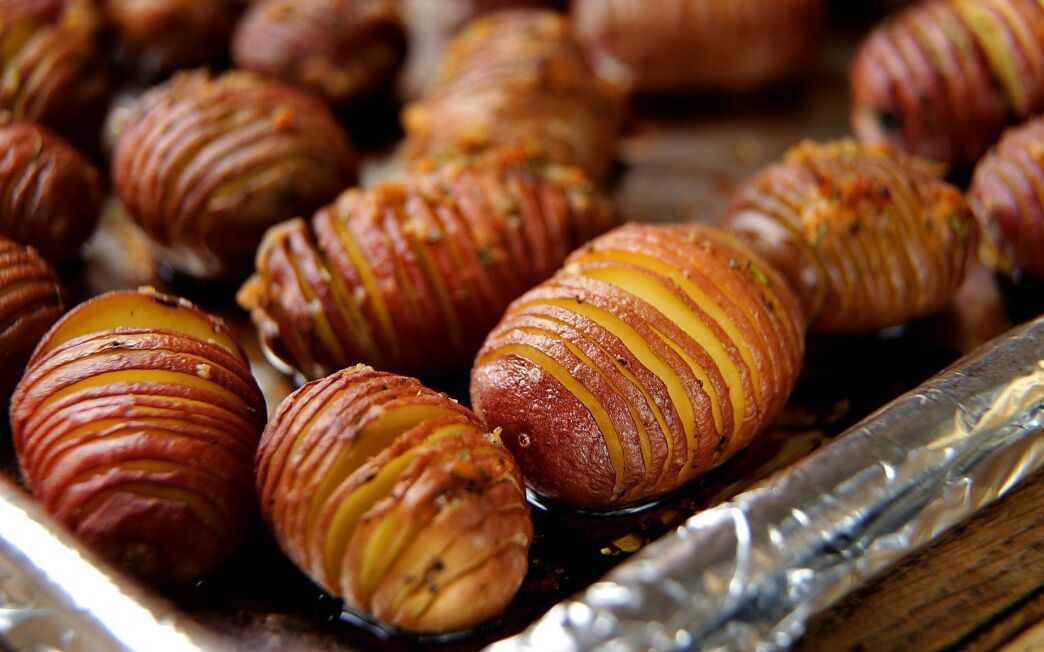 Hasselback potatoes with garlic and rosemary