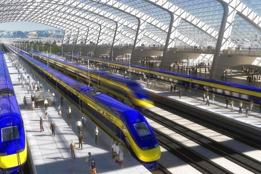 An artist's rendering of a proposed California high-speed rail station is shown.