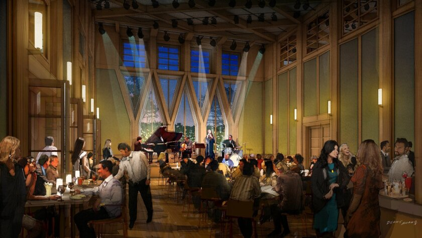 Rendering of the 150-person capacity cabaret room proposed for The Conrad on Fay Avenue. It includes floor-to-ceiling windows and a movable stage. An adjacent catering kitchen will facilitate use of the space for galas, receptions and other events.