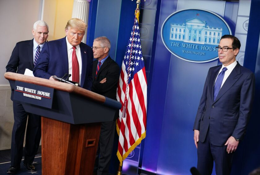 President Trump heads to the microphone at a daily White House briefing on the COVID-19 pandemic. Will his performance help or hurt his reelection bid?