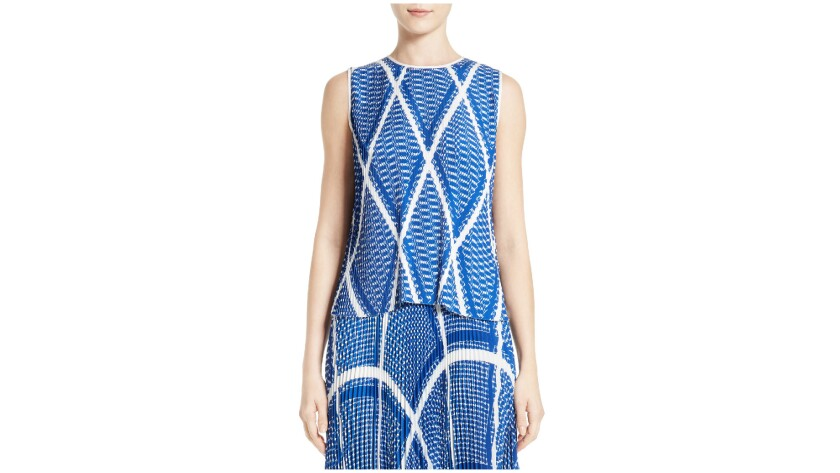 MSGM top with separate accordion-pleated midi-length skirt.