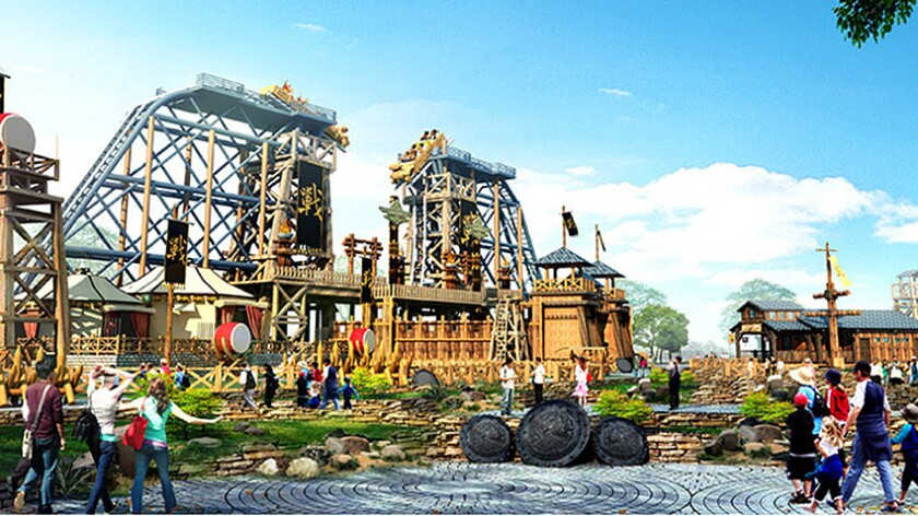 Wanda Group's waterfront park in Hefei will boast a pair of dueling tilt coasters.
