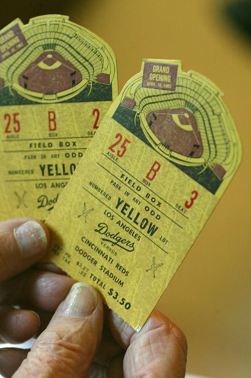 Ticket stubs from the first Opening Day at Dodger Stadium in 1962.