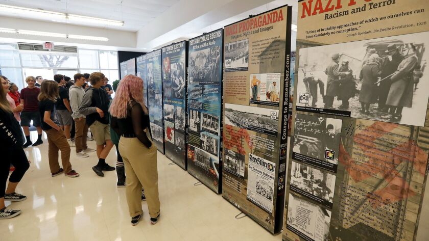 """Ninth-graders from Jillian Jontig's English class view the Simon Wiesenthal Center's """"The Courage to"""