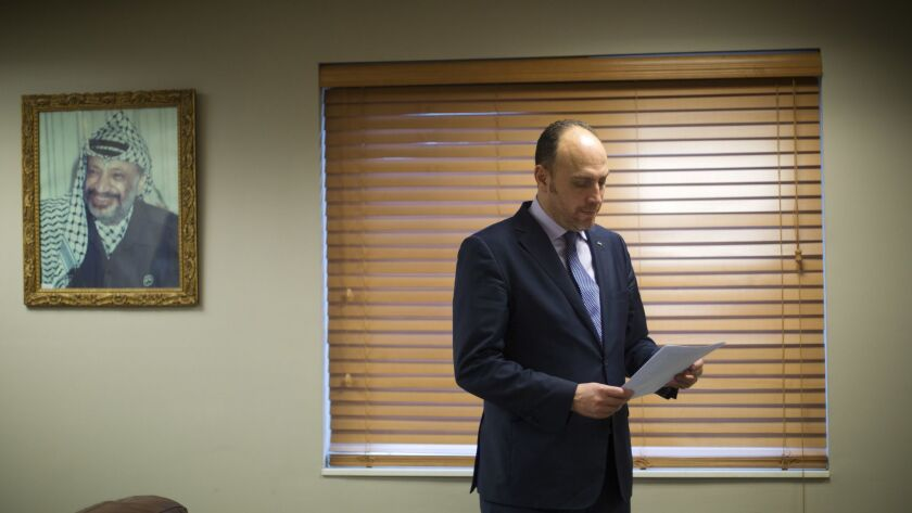 Husam Zomlot, the Palestinian envoy to Washington, in the D.C. office of the Palestine Liberation Organization in February.