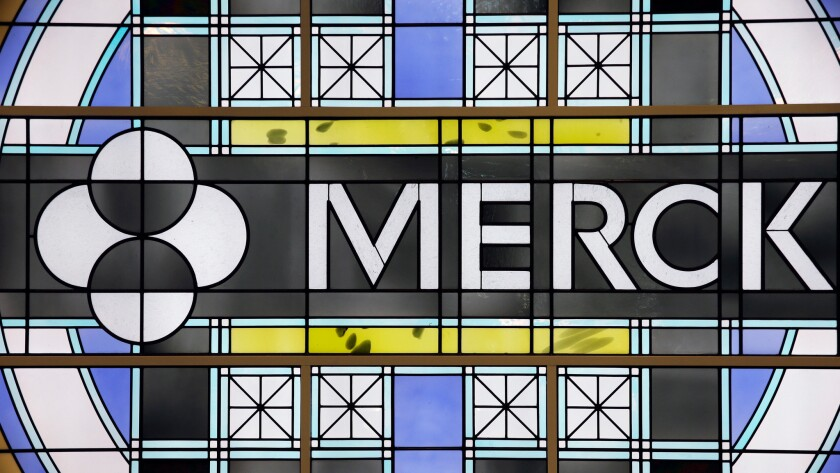 Soiled shop window: Merck's logo, in stained glass, at the company's headquarters in Kenilworth, N.J.