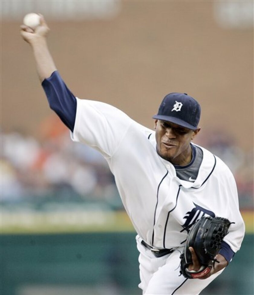 Detroit Tigers starter Edwin Jackson pitches against the Cleveland Indians in the fourth inning of a baseball game Friday, July 10, 2009, in Detroit. (AP Photo/Duane Burleson)