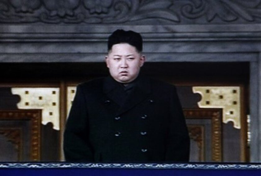 In this image made from KRT video, North Korea's next leader Kim Jong Un is seen during a memorial service for late North Korean leader Kim Jong Il, in Pyongyang, North Korea, Thursday, Dec. 29, 2011. (AP Photo/KRT via APTN) TV OUT, NORTH KOREA OUT