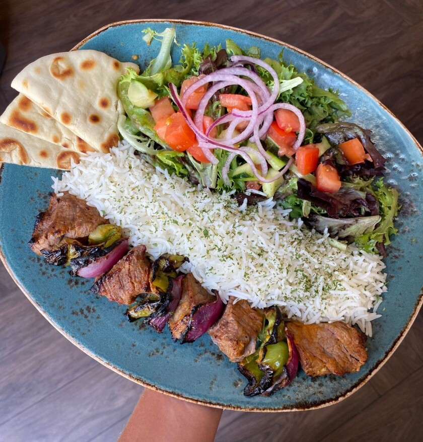 A plate of food from Luna Grill