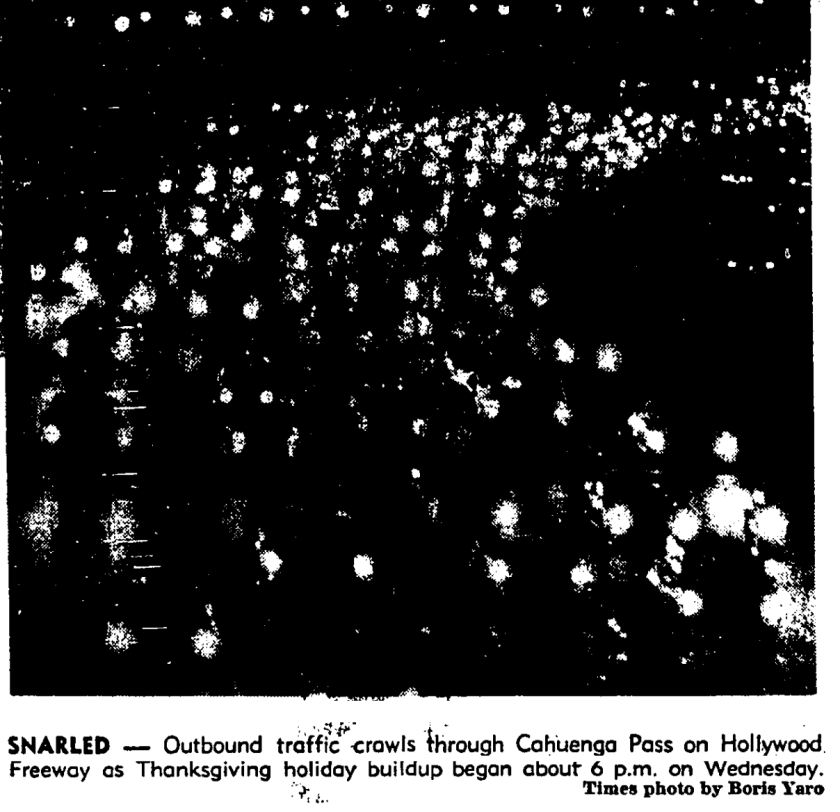 Thanksgiving traffic on the Hollywood Freeway in 1960s