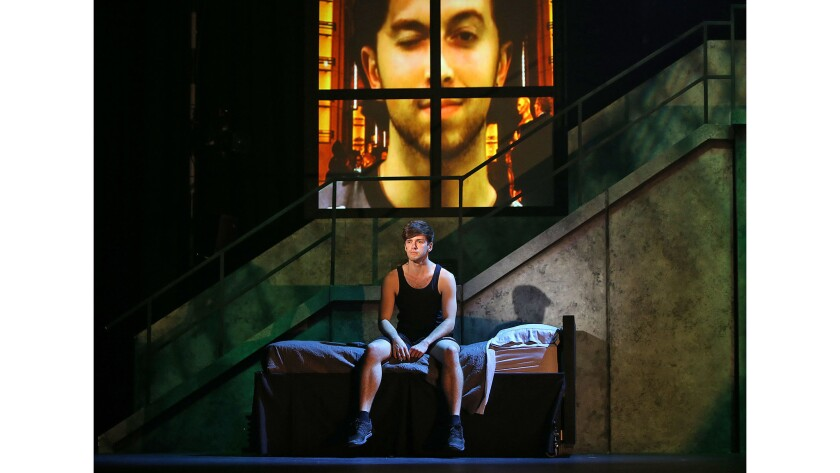 """Cast members prepare for a scene during the rehearsal of """"American Idiot"""" at UCI's Claire Trevor The"""