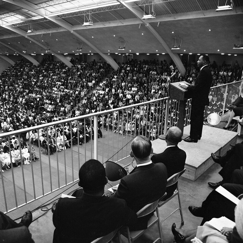 May 29, 1964 -- The Rev. Martin Luther King appeared before 5000 in Golden Gymnasium at California Western University. Photo: U-T San Diego file photo