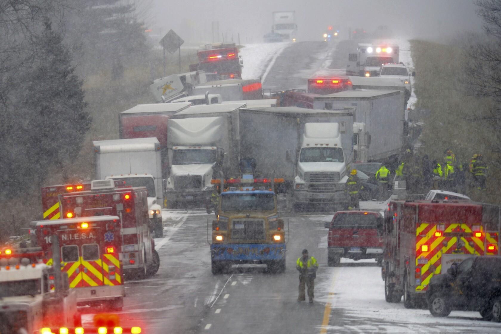 3 killed, 11 injured in 40-vehicle pileup on slick Michigan