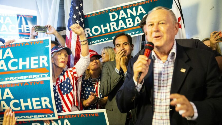 Rep. Dana Rohrabacher (R-Costa Mesa) addresses supporters at his campaign headquarters Tuesday evening.