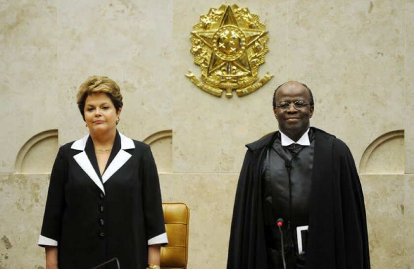 Brazil swears in nation's first black Supreme Court president
