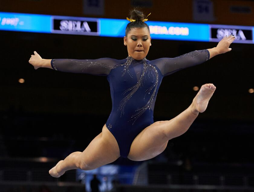 UCLA's Grace Glenn achieved the first leadoff perfect 10 on beam in NCAA history Sunday against Utah at Pauley Pavilion.