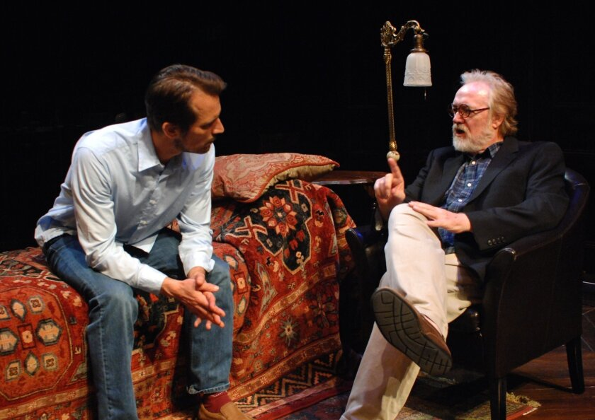 """Fran Gercke (left) and Robert Smyth rehearse a scene from """"Freud's Last Session"""" at Lamb's Players Theatre."""