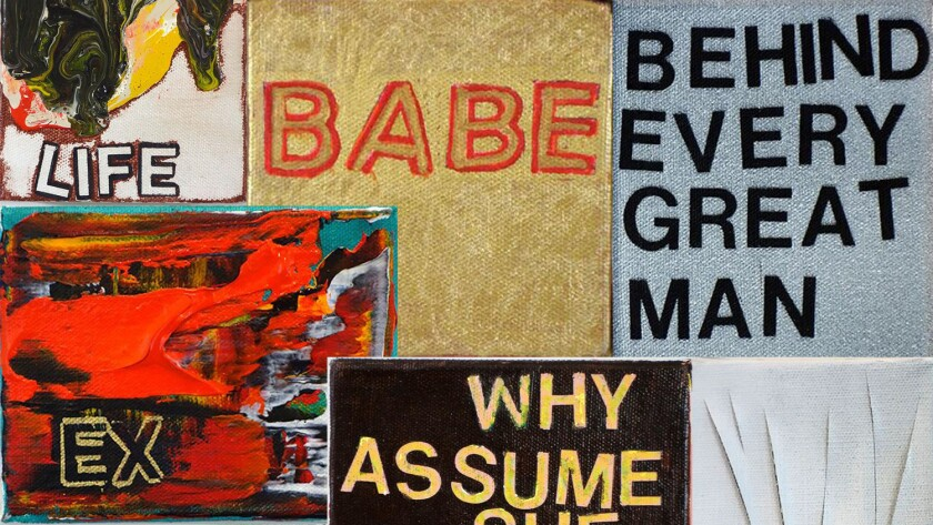 """A detail from collaged canvases from Betty Tompkin's """"WOMEN Words"""" series at Gavlak in Los Angeles."""