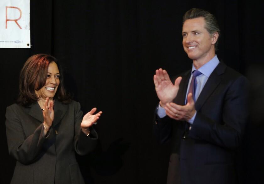 Sen. Kamala Harris and then-Lt. Gov. Gavin Newsom in 2018.