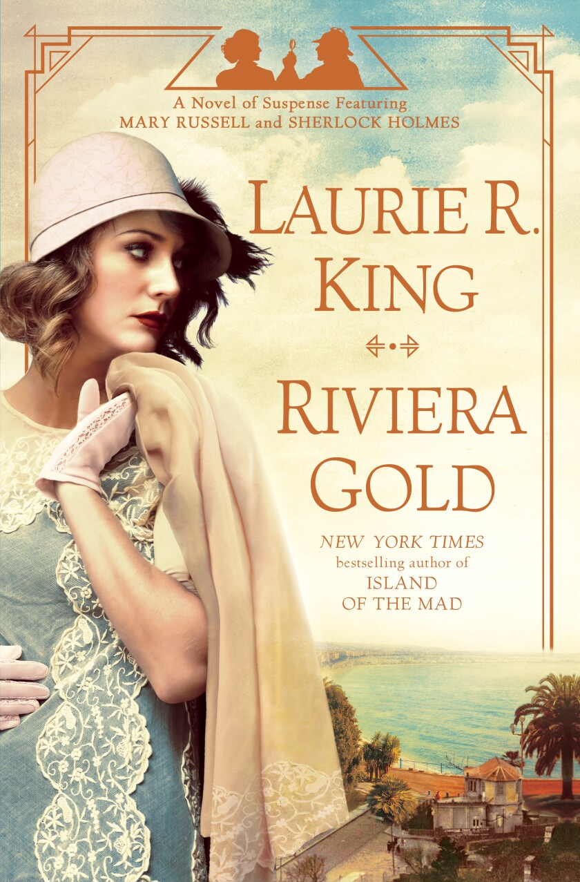 "A book jacket for Laurie R. King's ""Riviera Gold."""