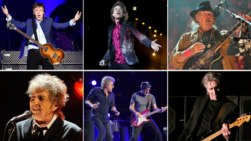 Bob Dylan, Paul McCartney, Mick Jagger, Roger Daltrey, Pete Townshend, Neil Young, Roger Waters