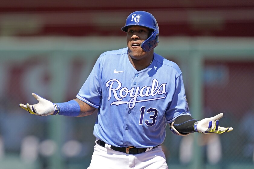 Kansas City Royals' Salvador Perez reacts after advancing to second after reaching on an error by Chicago White Sox first baseman Gavin Sheets during the third inning of a baseball game Sunday, Sept. 5, 2021, in Kansas City, Mo. (AP Photo/Charlie Riedel)