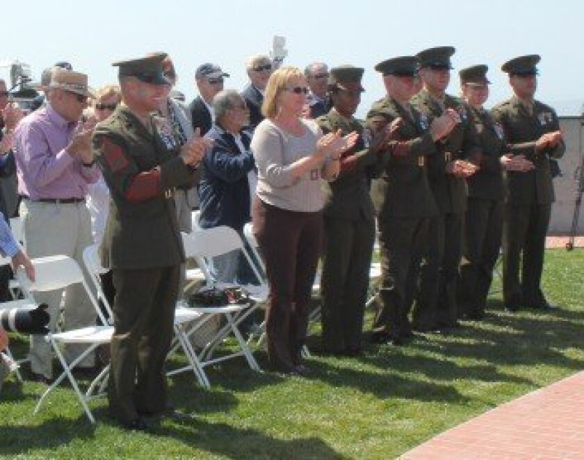 About 80 people attended the dedication of five new veterans memorial walls atop Mount Soledad May 15. Pat Sherman photos