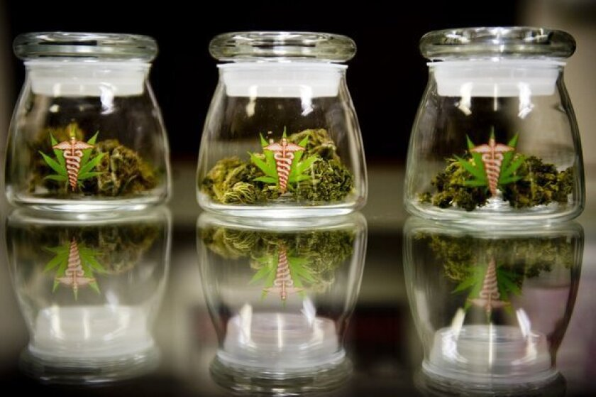 Medical marijuana strains on display at a California dispensary.