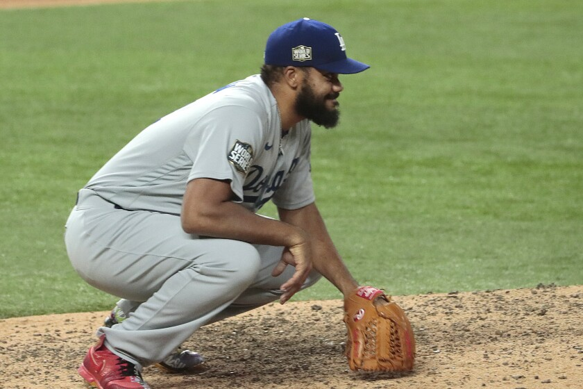 Arlington, Texas, Saturday, October 24, 2020 Los Angeles Dodgers relief pitcher Kenley Jansen.