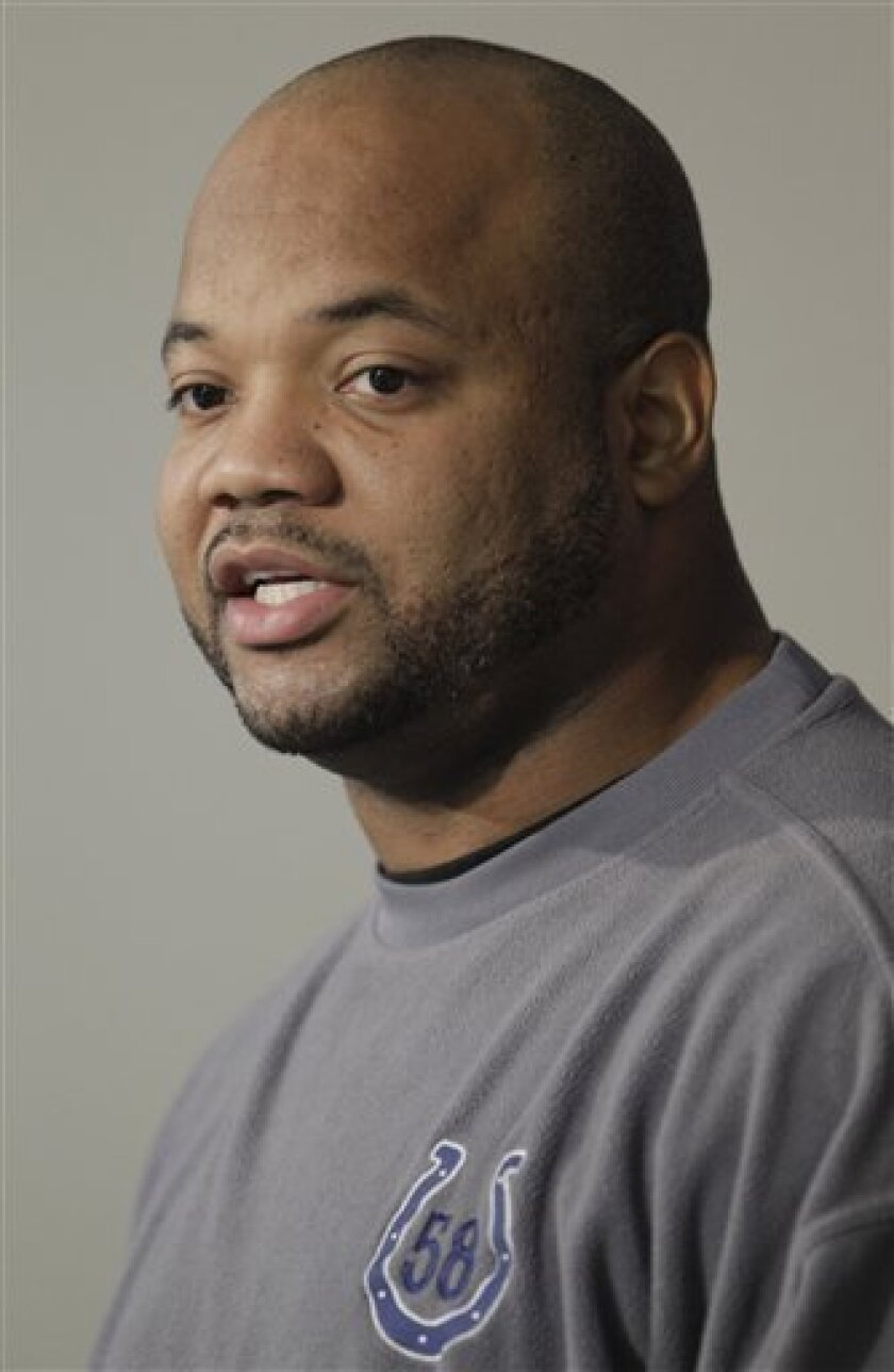 Indianapolis Colts linebacker Gary Brackett responds to a question during a news conference in Indianapolis, Tuesday, Jan. 4, 2011. The Colts are scheduled to host the New York Jets in a playoff game on Saturday, Jan. 8. (AP Photo/Darron Cummings)