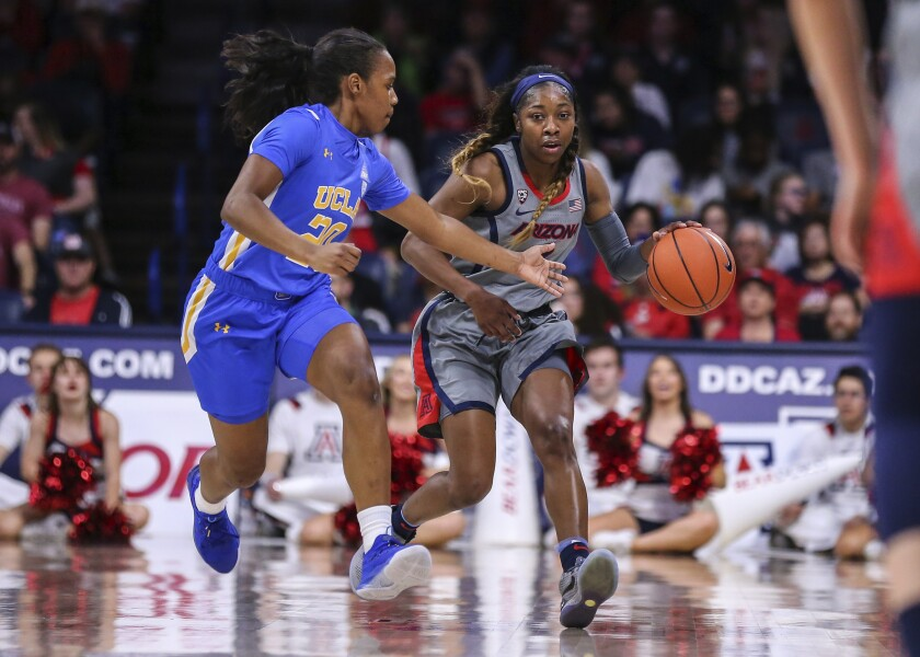 UCLA's Charisma Osborne defends Arizona's Aari McDonald during a game Jan. 31, 2020.